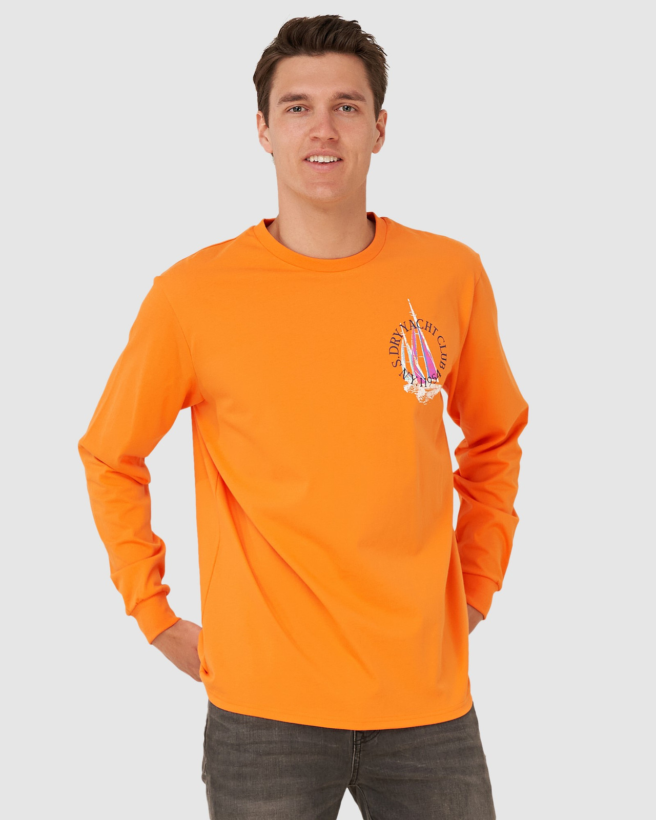 Superdry Mens YACHT PREP LS TOP Orange Long Sleeve T Shirts 0