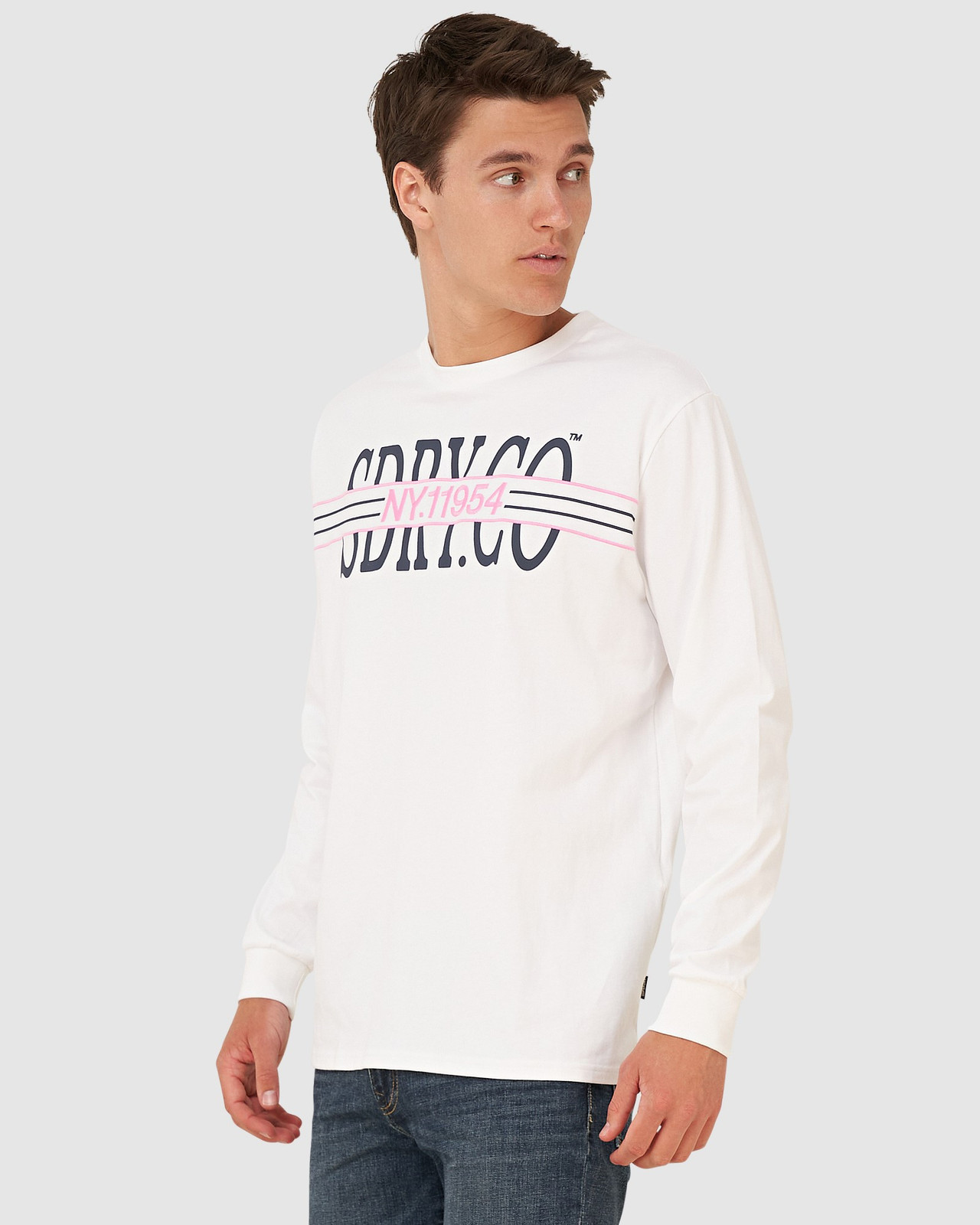 Superdry Mens YACHT PREP LS TOP White Long Sleeve T Shirts 0