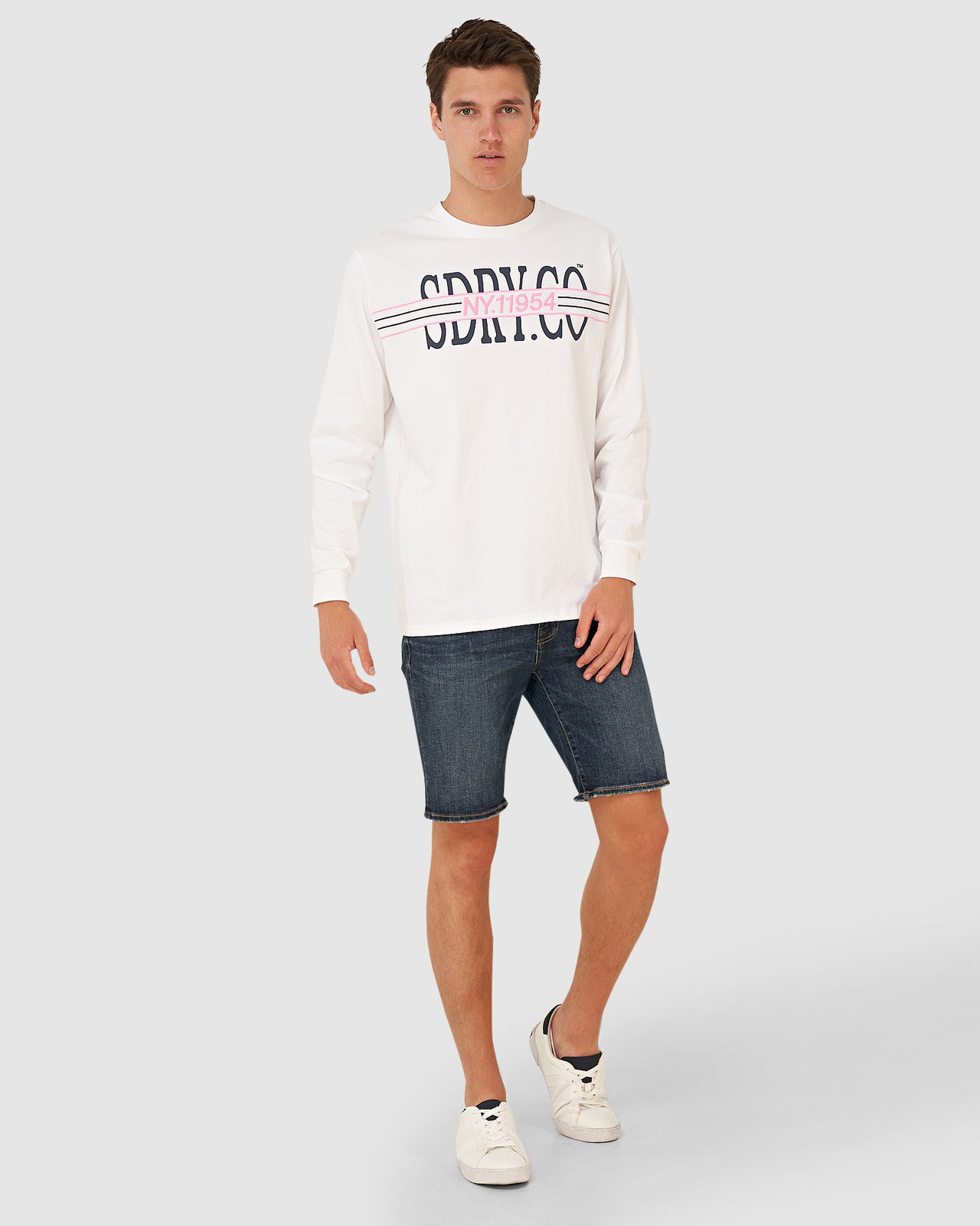 Superdry Mens YACHT PREP LS TOP White Long Sleeve T Shirts 1