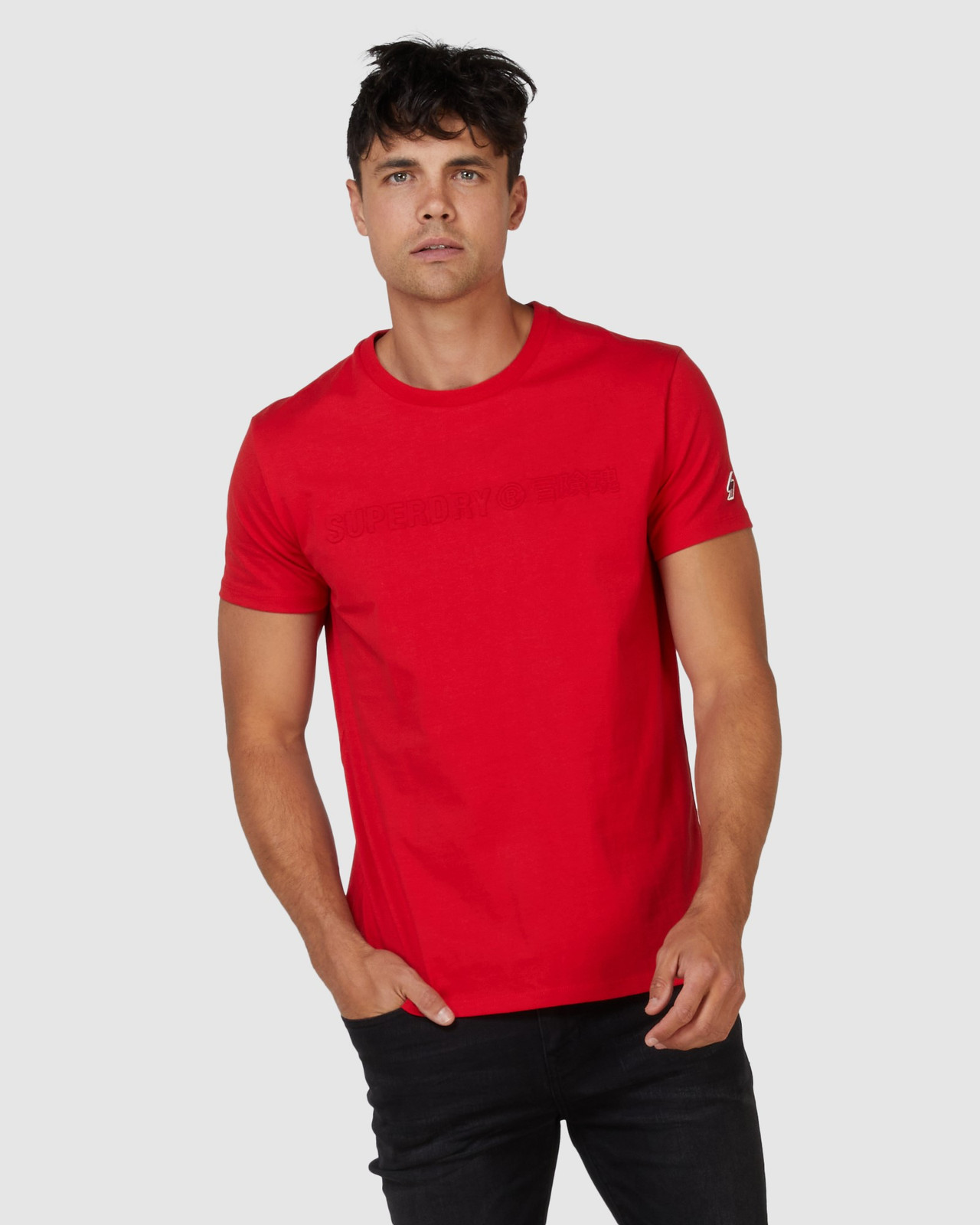 Superdry Mens SPORTSTYLE EMBOSS TEE Red Printed T Shirts 0