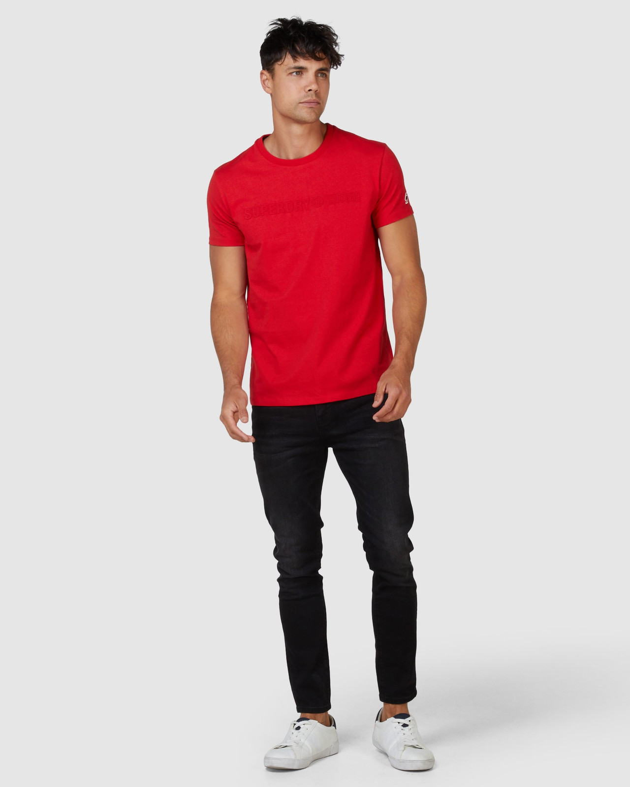 Superdry Mens SPORTSTYLE EMBOSS TEE Red Printed T Shirts 1