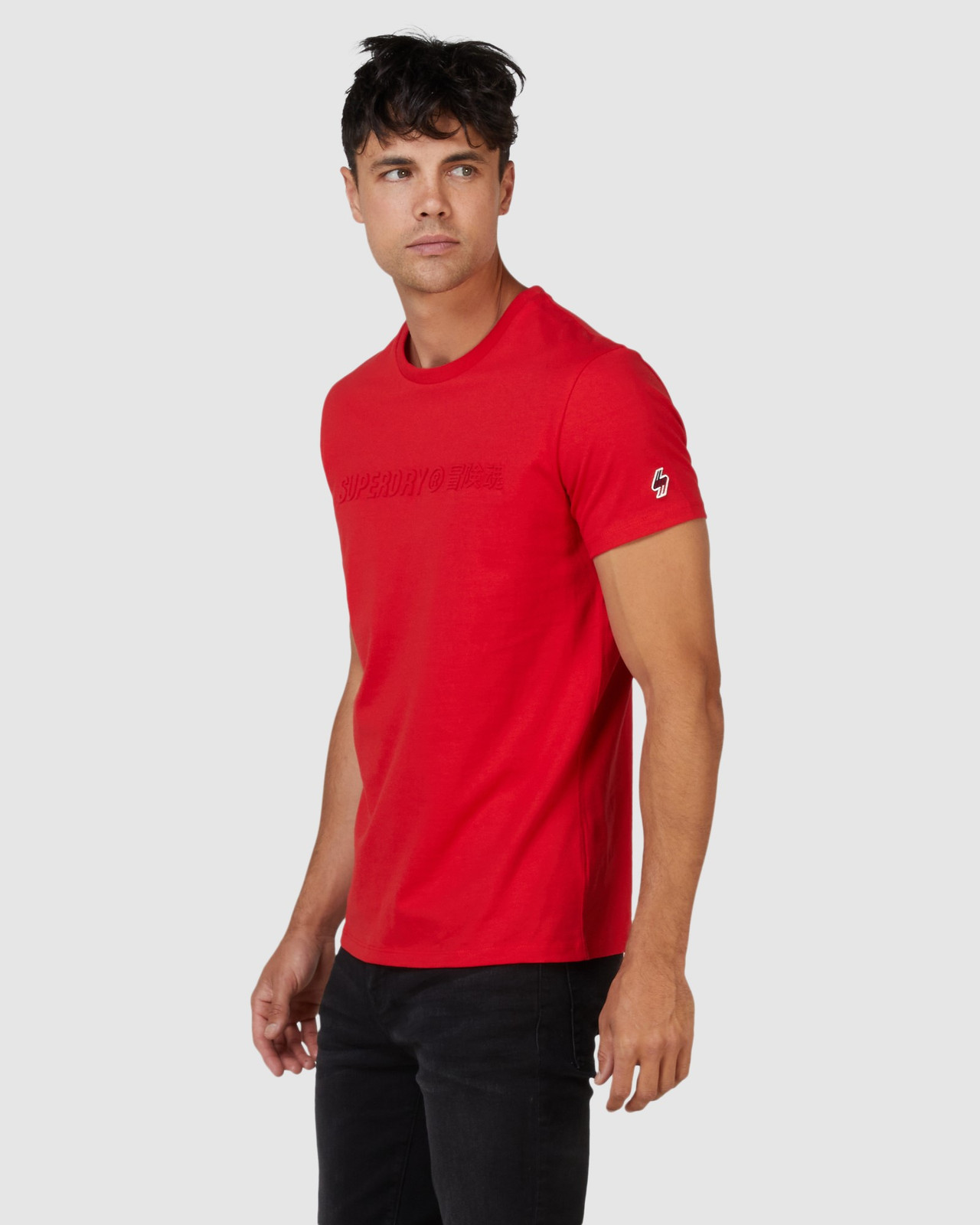Superdry Mens SPORTSTYLE EMBOSS TEE Red Printed T Shirts 2