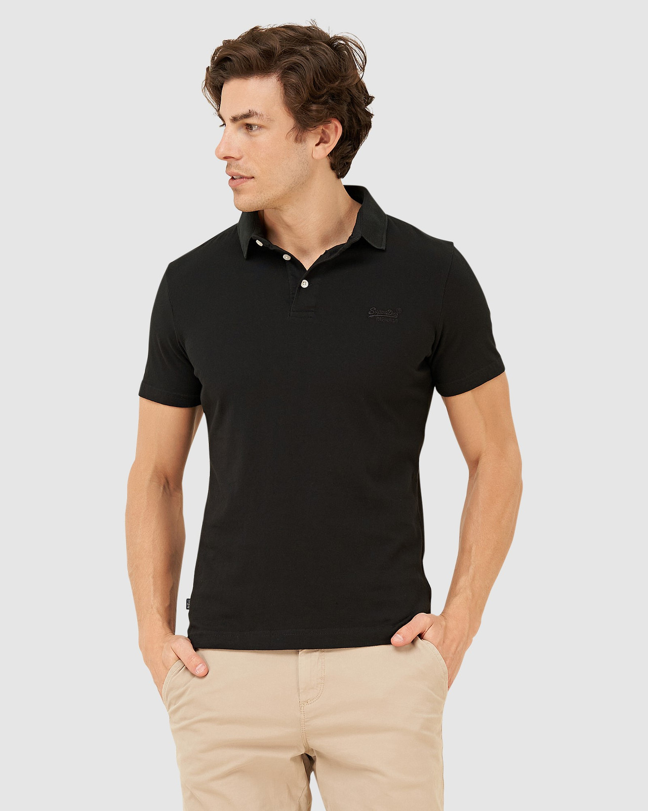 Superdry Mens ORANGE LABEL JERSEY POLO Black Plain Polos 0