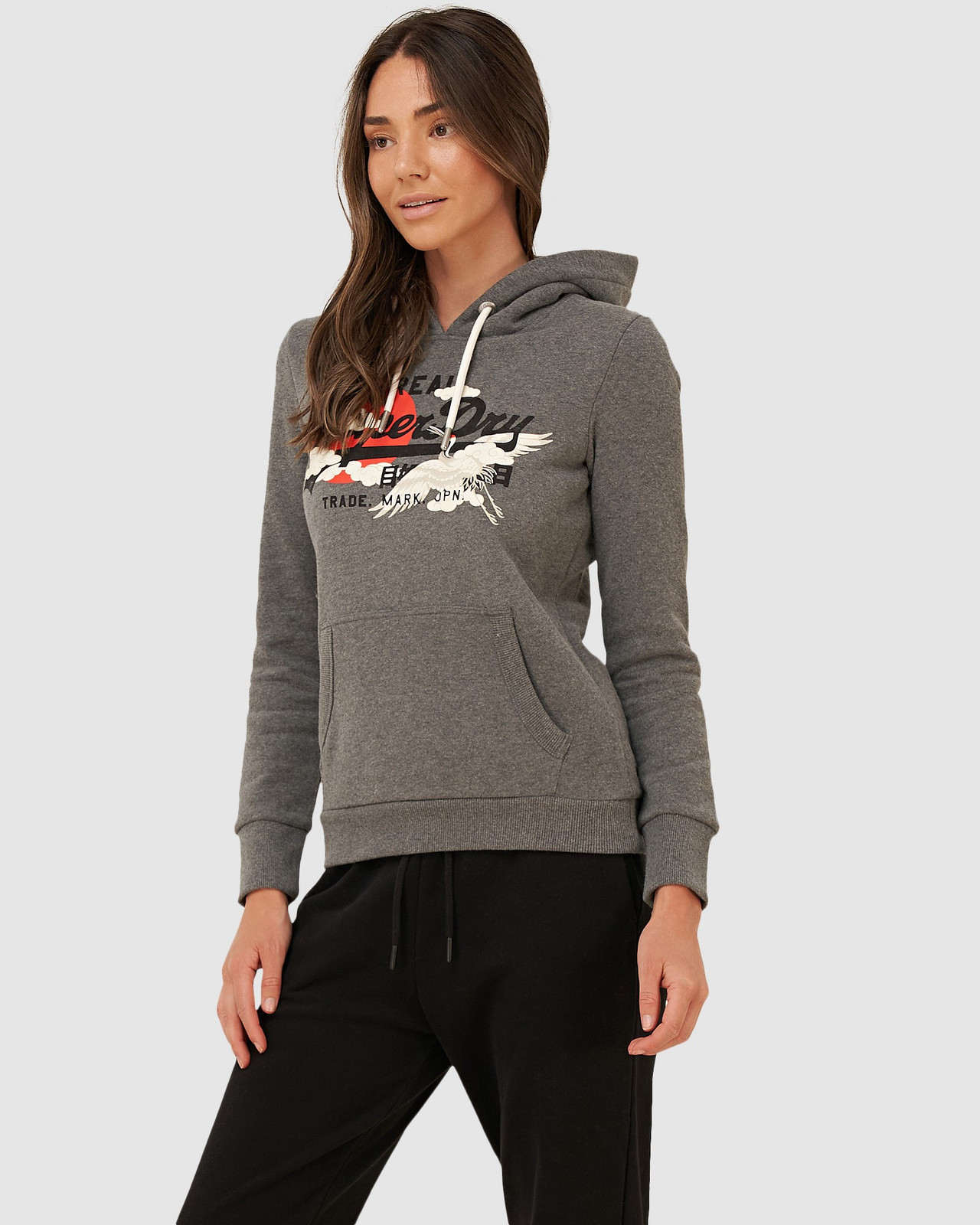 Superdry Womens VL RISING SUN HOOD BR Brown Overhead Hoodie 0