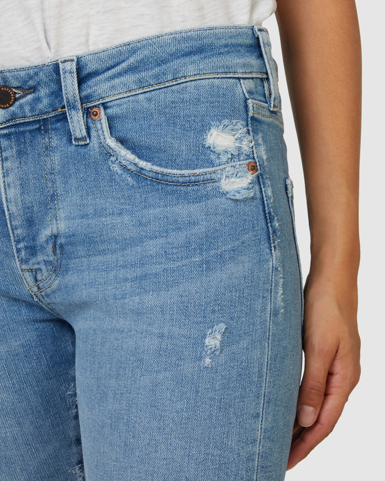 Superdry Womens MID RISE SKINNY Blue Skinny Jeans 15