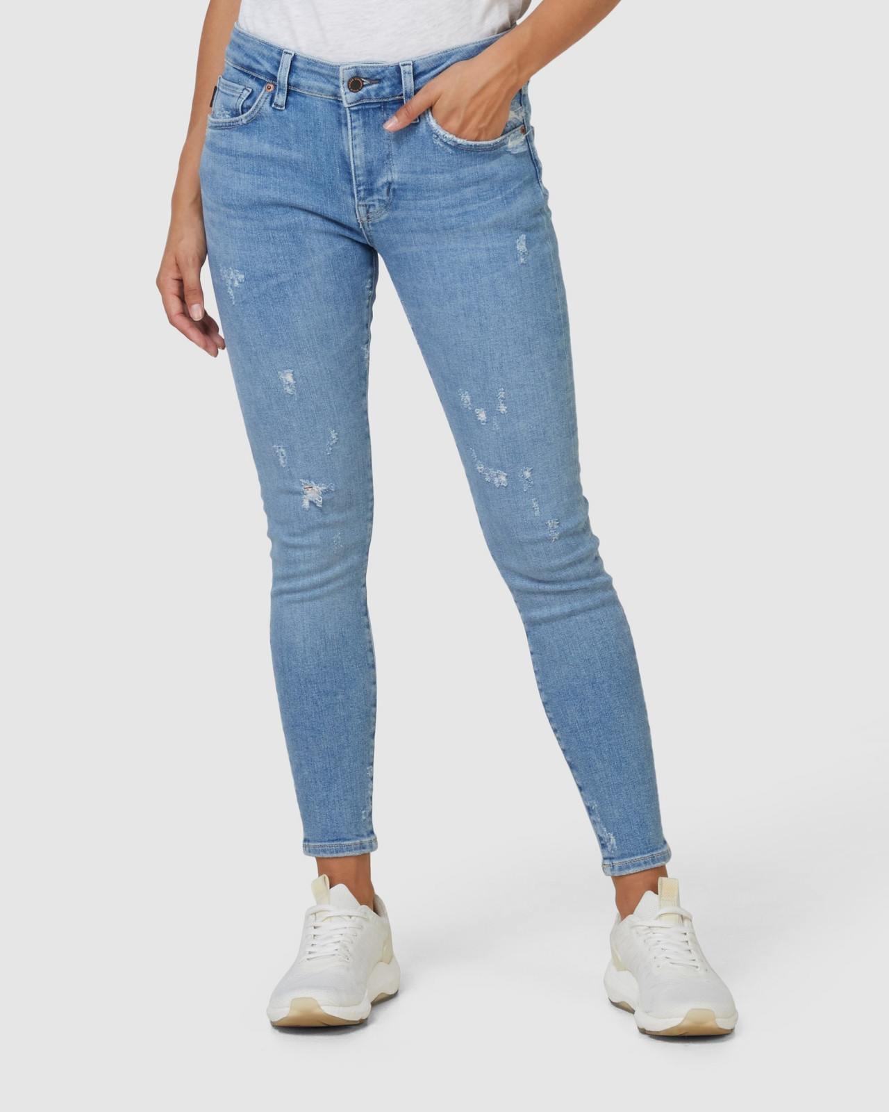 Superdry Womens MID RISE SKINNY Blue Skinny Jeans 1