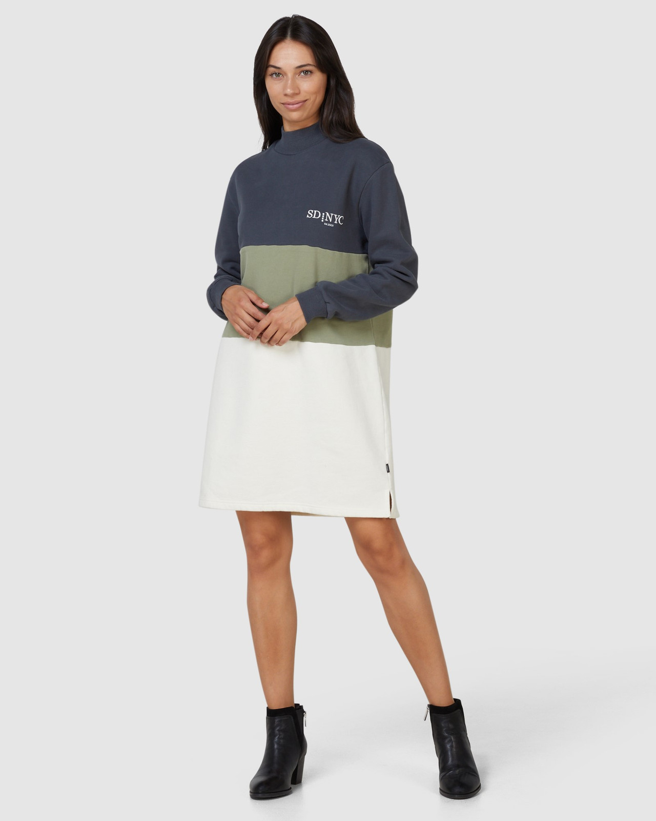 Superdry Womens NYC TIMES COLOURBLOCK DRESS Neutrals Sweat Dresses 1