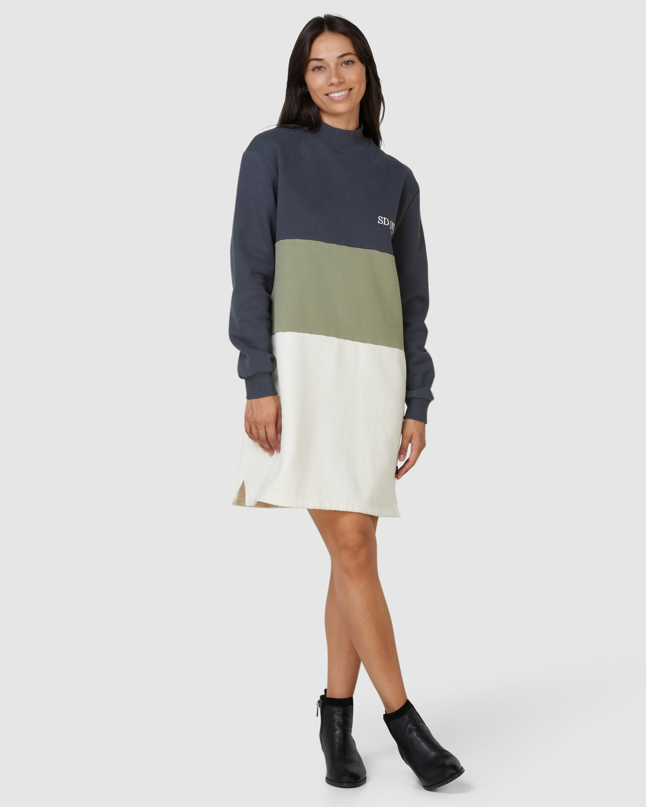 Superdry Womens NYC TIMES COLOURBLOCK DRESS Neutrals Sweat Dresses 0