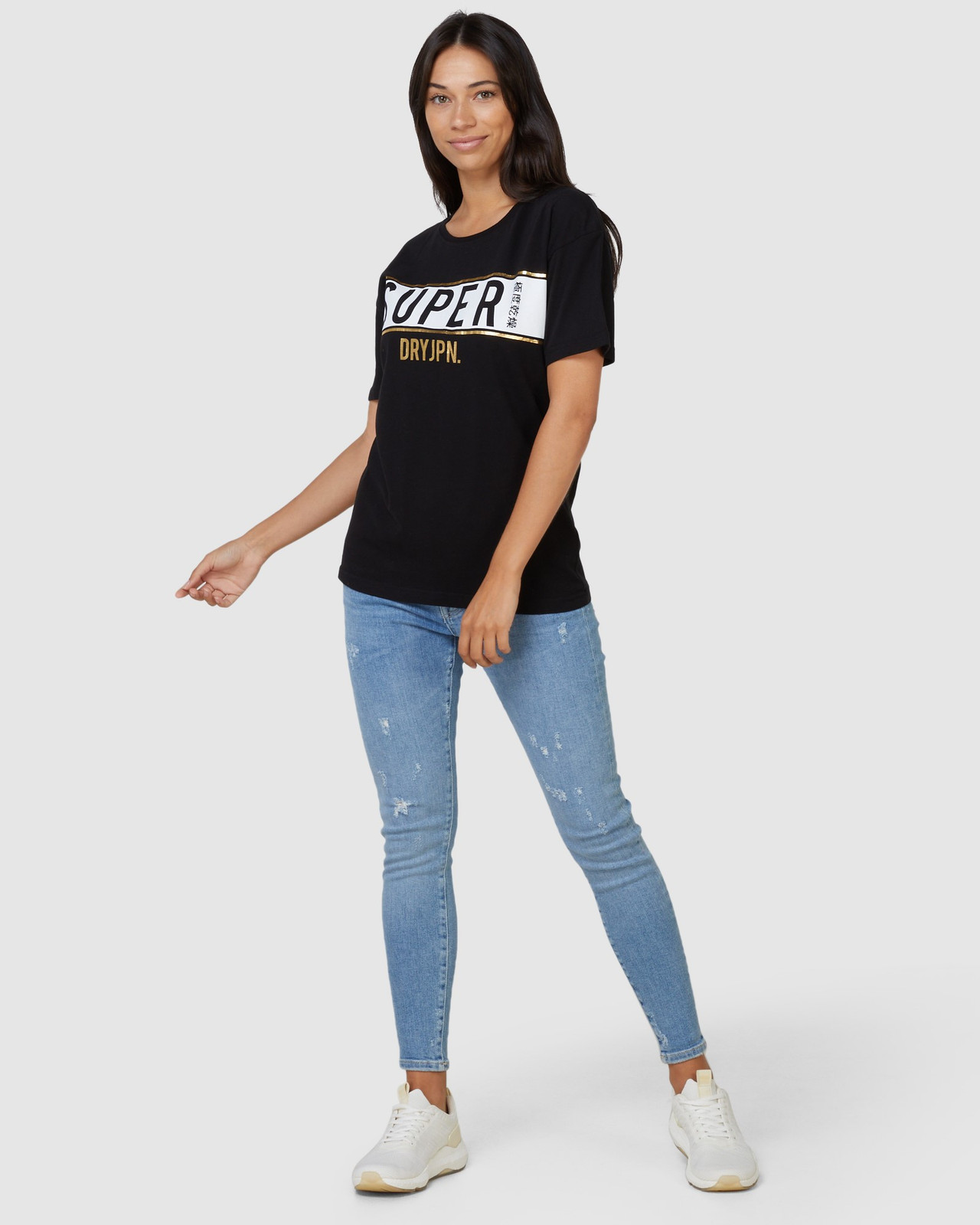 Superdry Womens Sdry Panel Tee Black Printed T Shirts 1