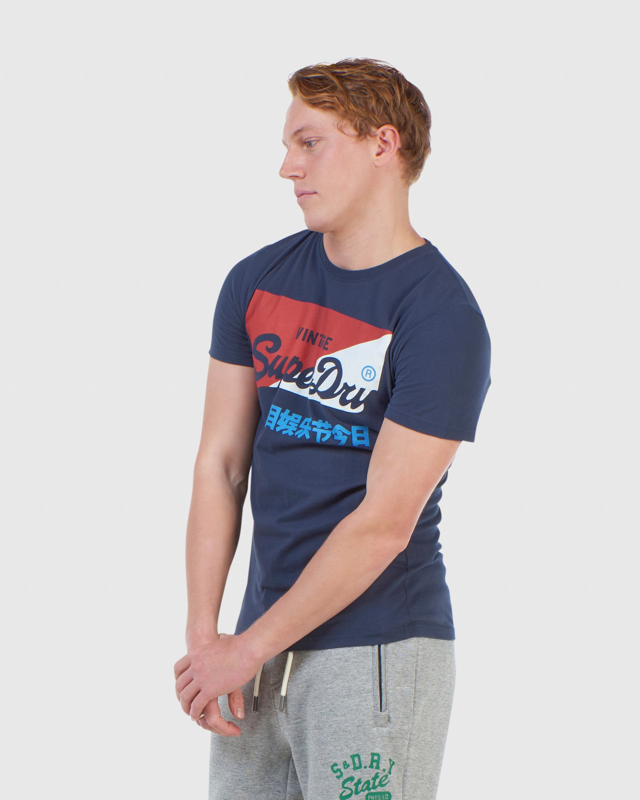 Superdry Mens Vintage Logo Organic  Primary T-Shirt Navy Printed T Shirts 2