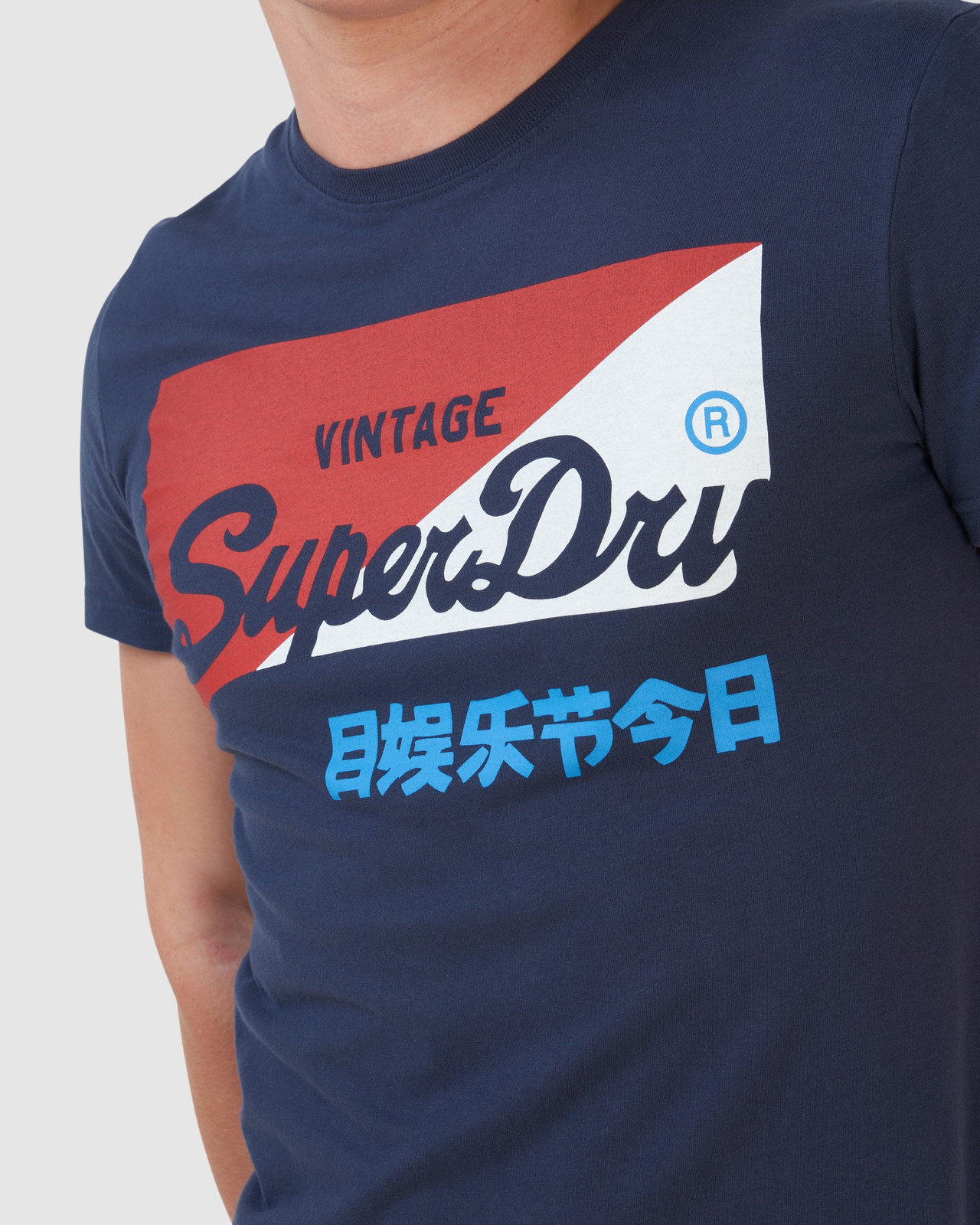 Superdry Mens Vintage Logo Organic  Primary T-Shirt Navy Printed T Shirts 4