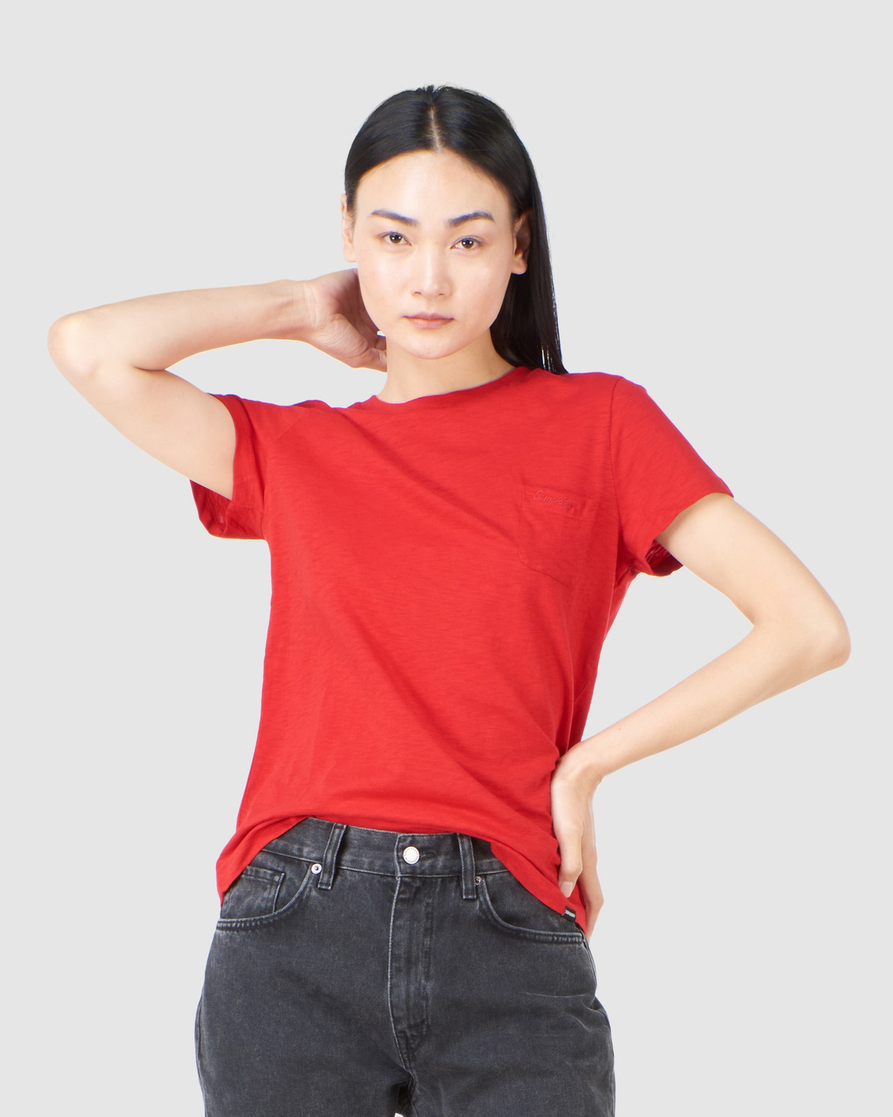 Superdry Womens SCRIPTED CREW TEE Red Plain T Shirts 0