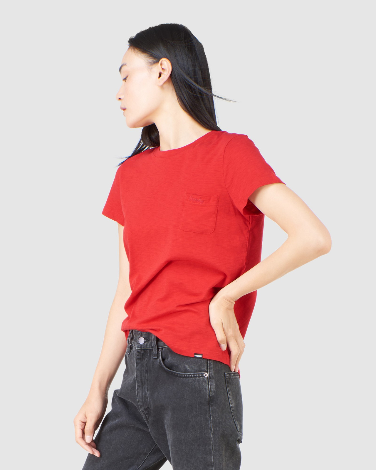 Superdry Womens SCRIPTED CREW TEE Red Plain T Shirts 2