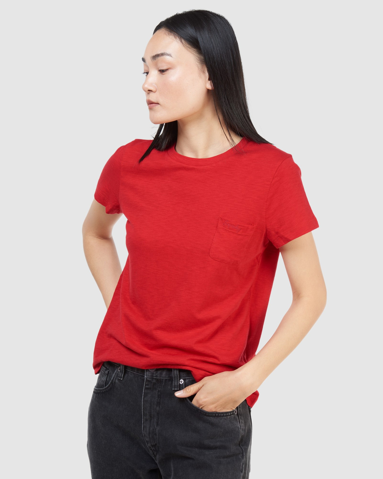Superdry Womens SCRIPTED CREW TEE Red Plain T Shirts 3