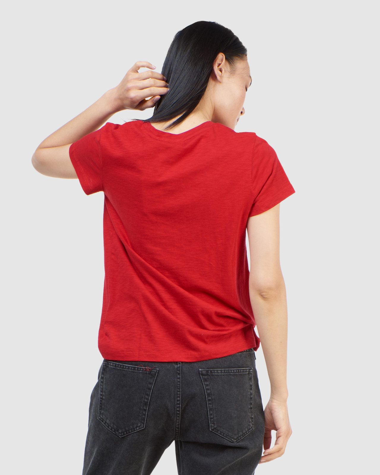 Superdry Womens SCRIPTED CREW TEE Red Plain T Shirts 4