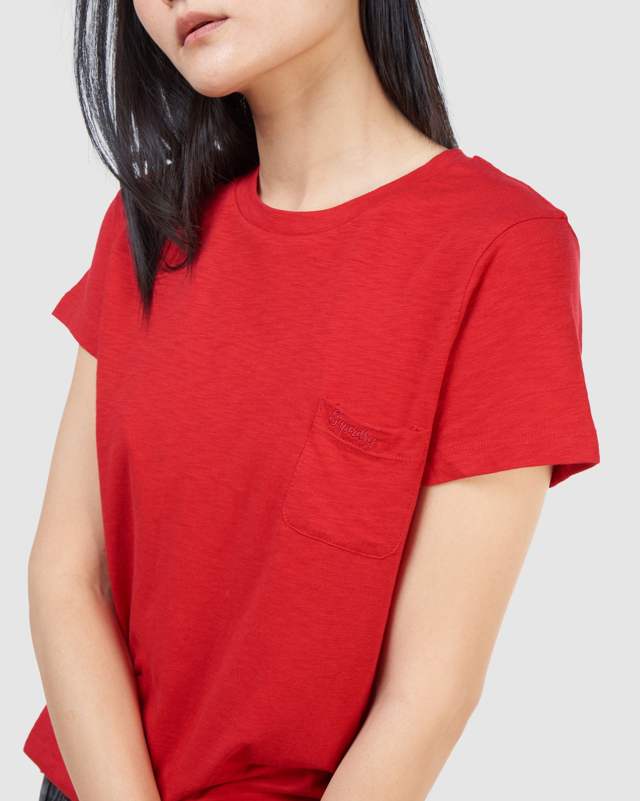 Superdry Womens SCRIPTED CREW TEE Red Plain T Shirts 5
