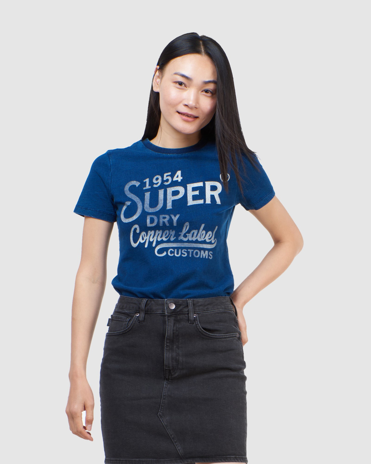 Superdry Womens COPPER LABEL TEE Blue Printed T Shirts 0