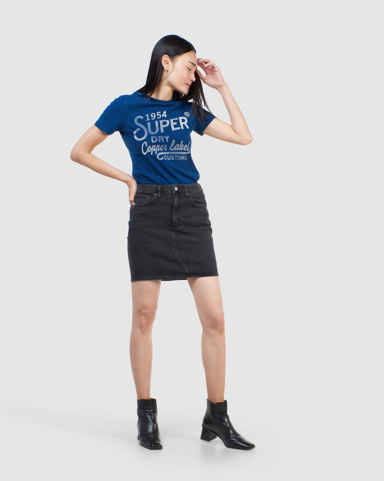 Superdry Womens COPPER LABEL TEE Blue Printed T Shirts 1