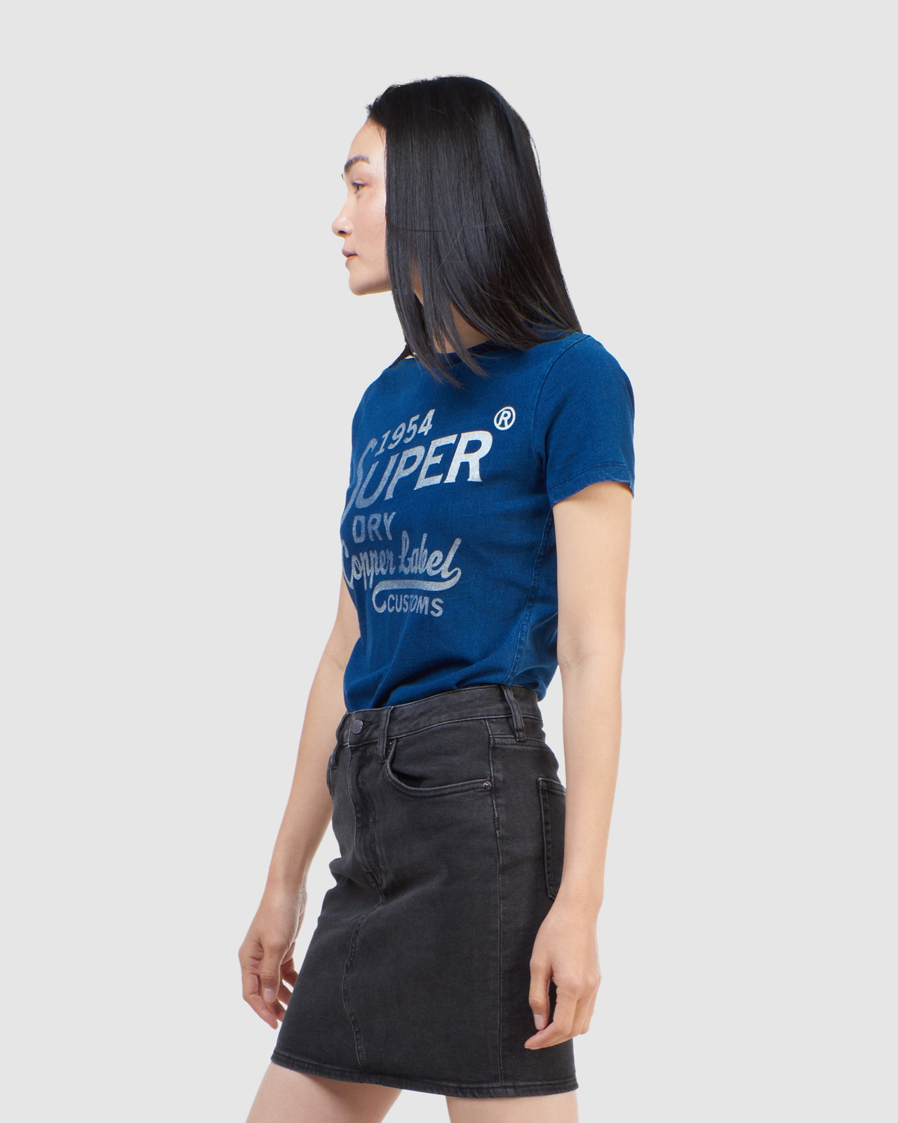 Superdry Womens COPPER LABEL TEE Blue Printed T Shirts 2