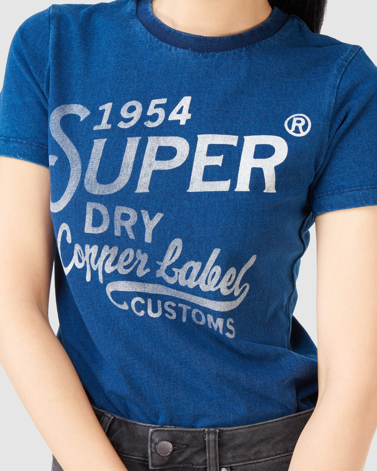 Superdry Womens COPPER LABEL TEE Blue Printed T Shirts 5