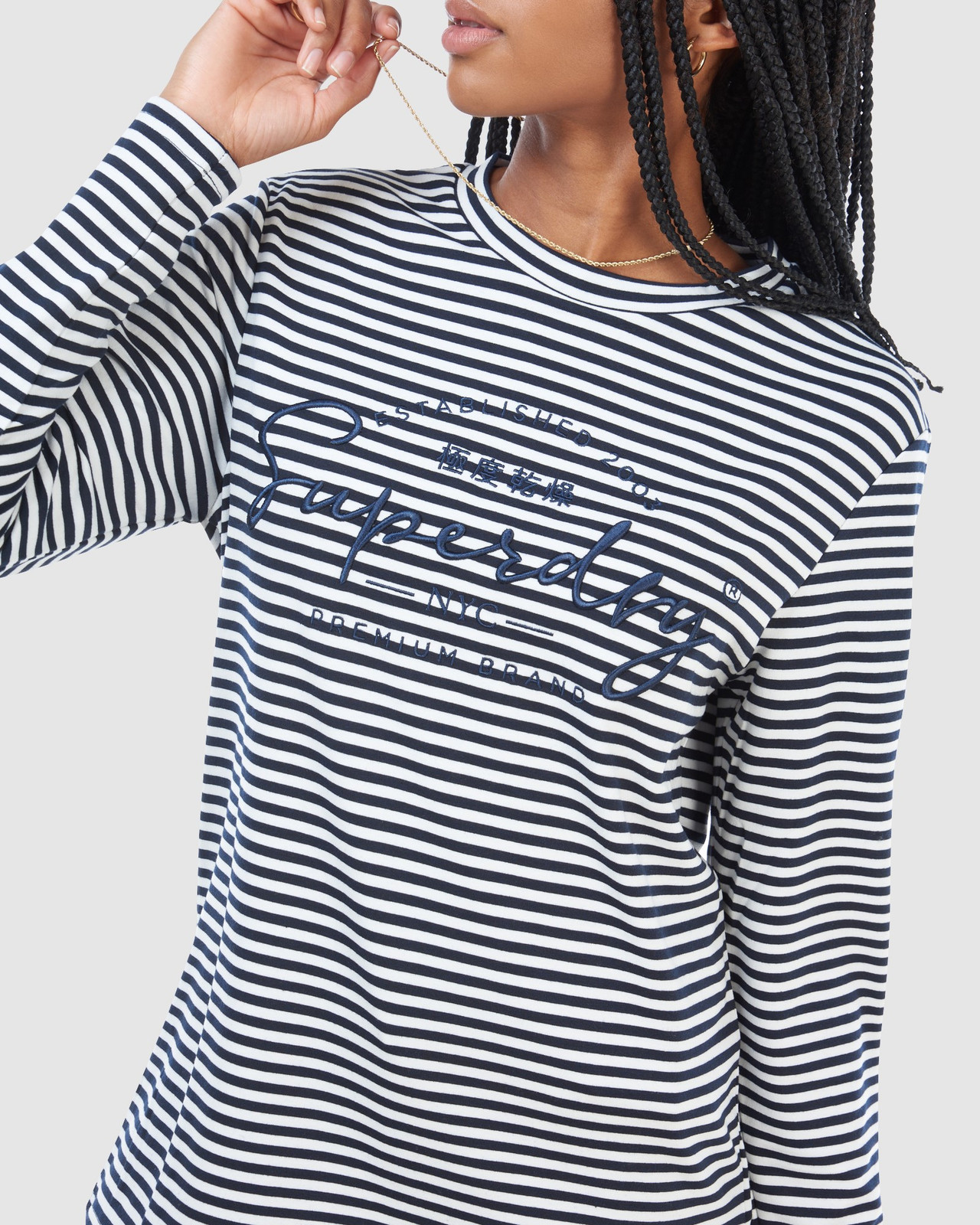 Superdry Womens STRIPE GRAPHIC NYC TOP Navy Long Sleeve Top 4