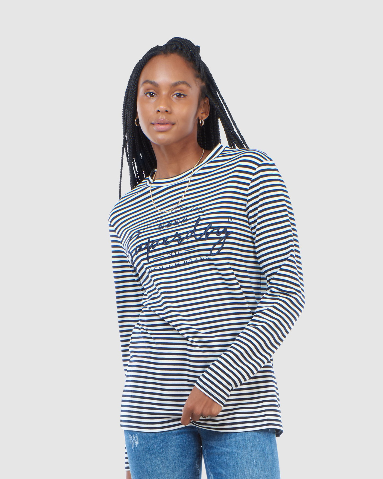 Superdry Womens STRIPE GRAPHIC NYC TOP Navy Long Sleeve Top 0