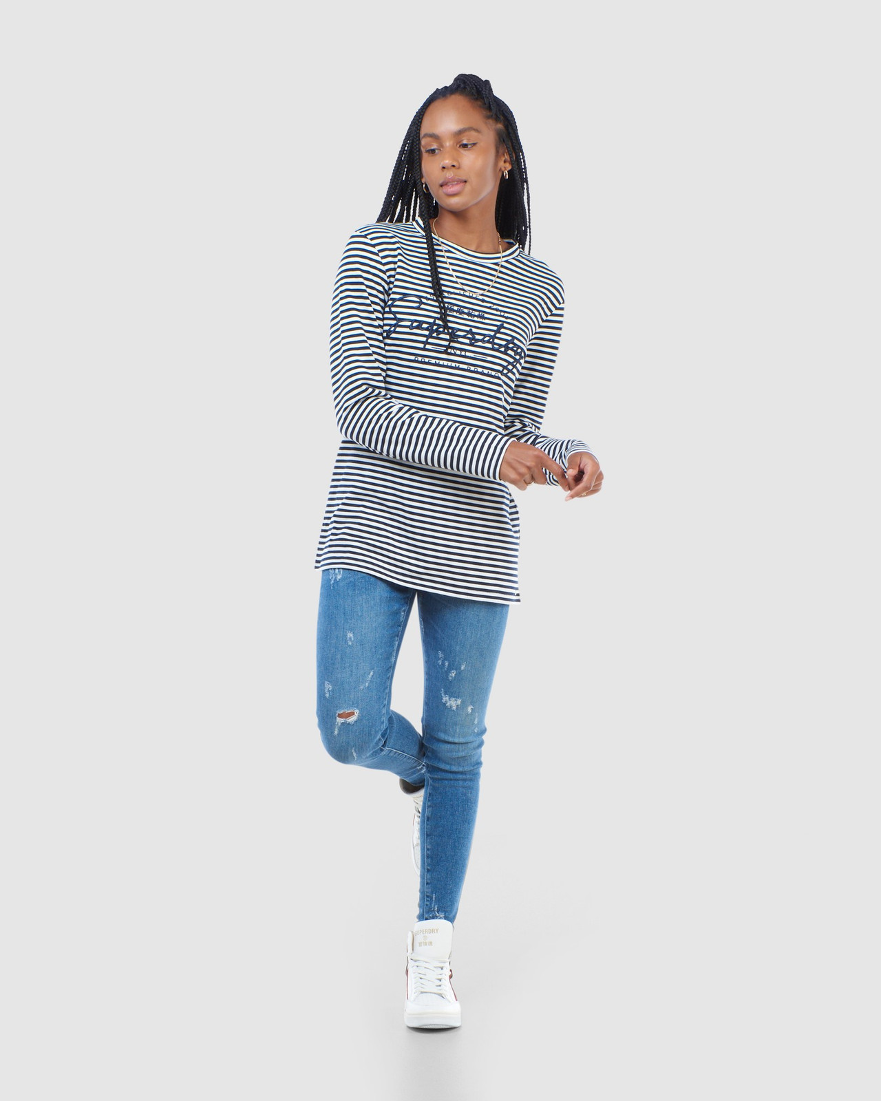 Superdry Womens STRIPE GRAPHIC NYC TOP Navy Long Sleeve Top 1