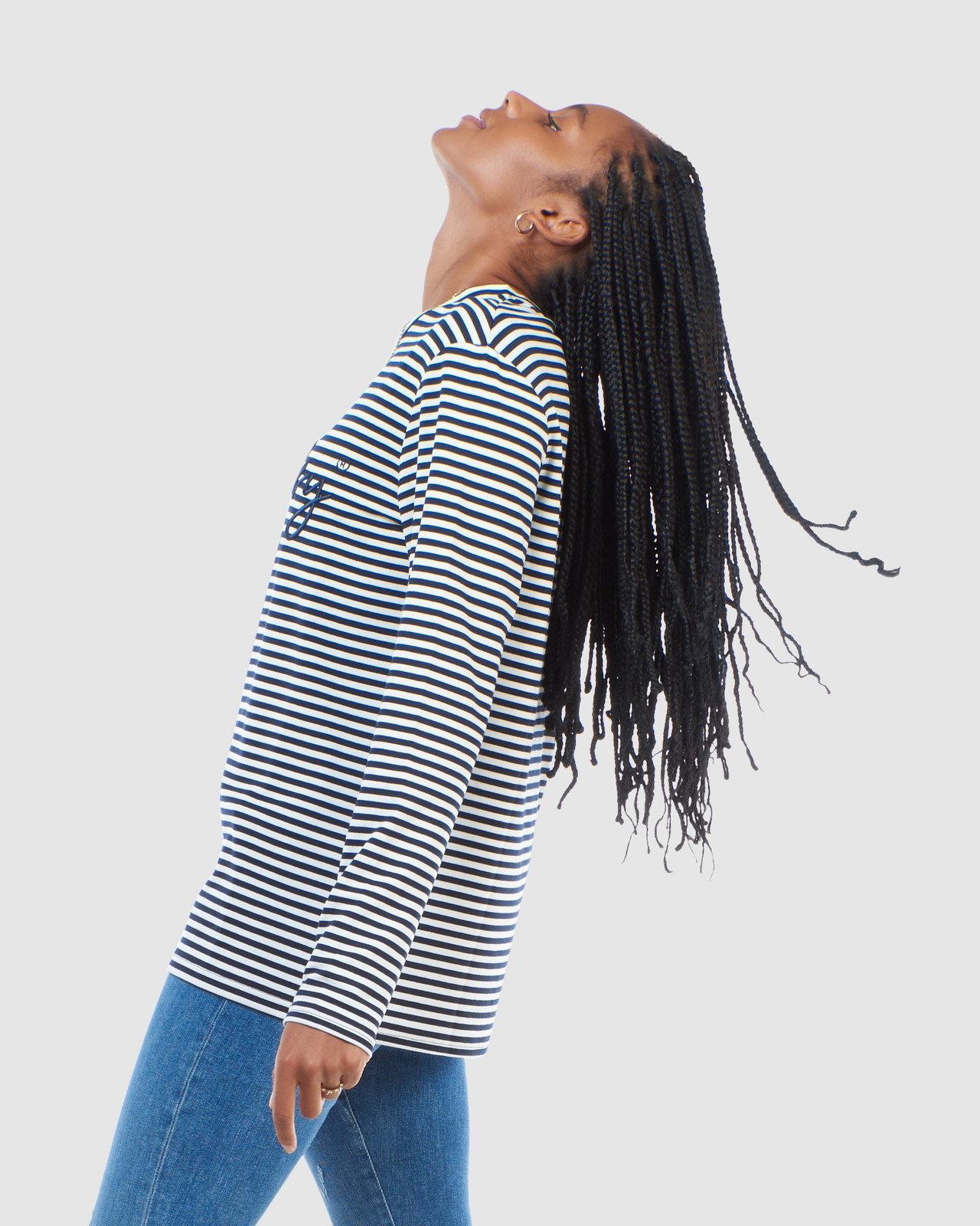 Superdry Womens STRIPE GRAPHIC NYC TOP Navy Long Sleeve Top 2