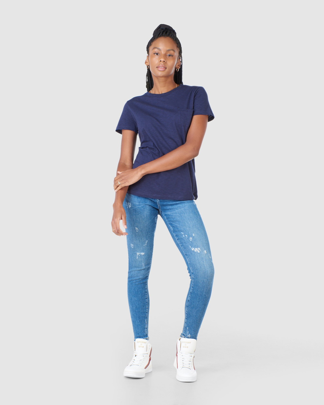 Superdry Womens SCRIPTED CREW TEE Navy Plain T Shirts 1