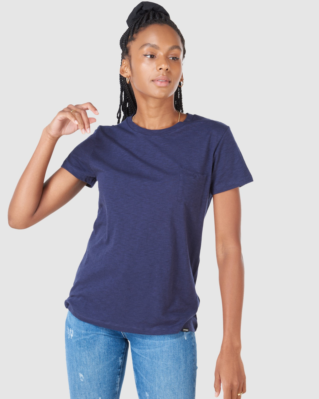 Superdry Womens SCRIPTED CREW TEE Navy Plain T Shirts 2