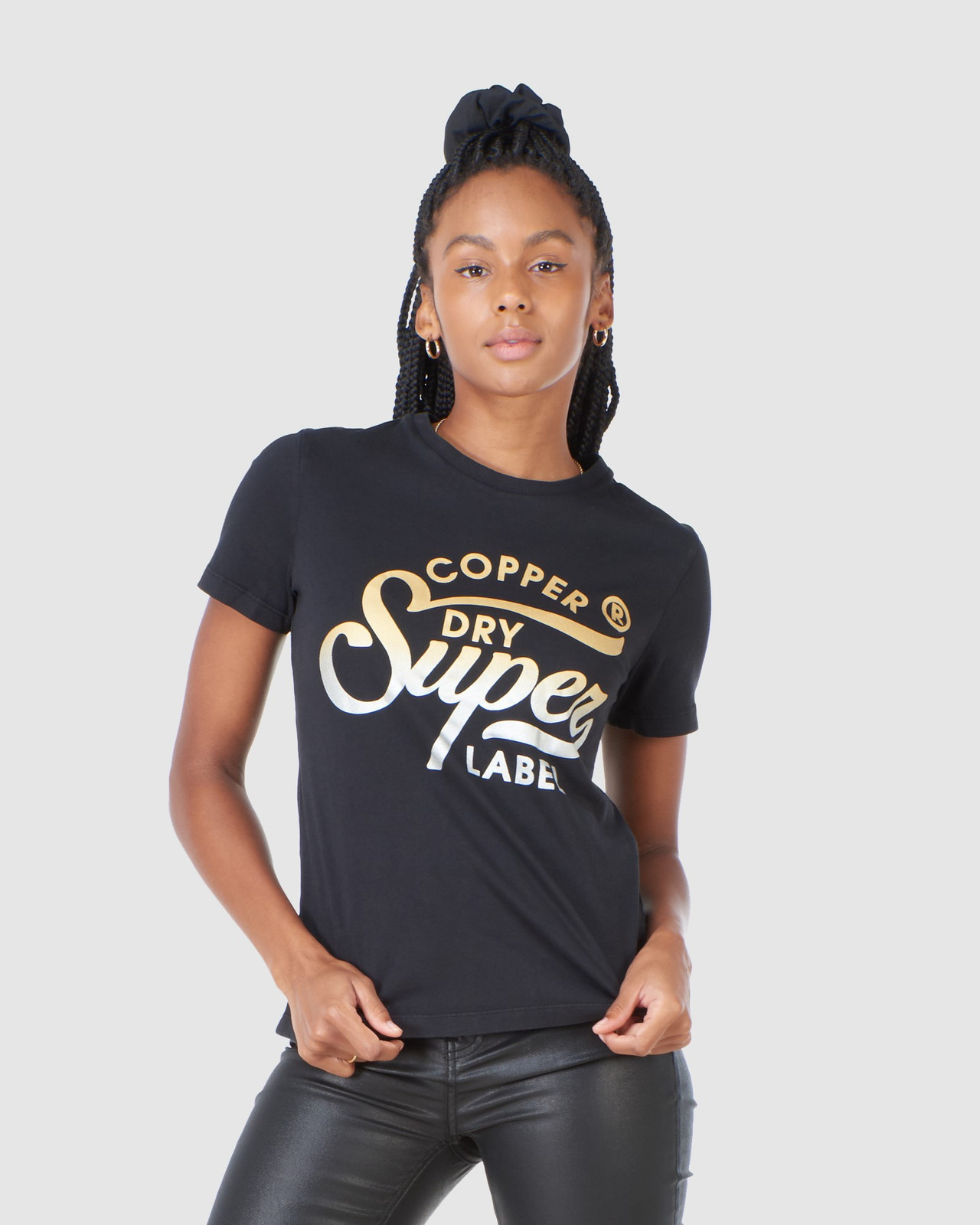 Superdry Womens COPPER LABEL TEE Black Printed T Shirts 0