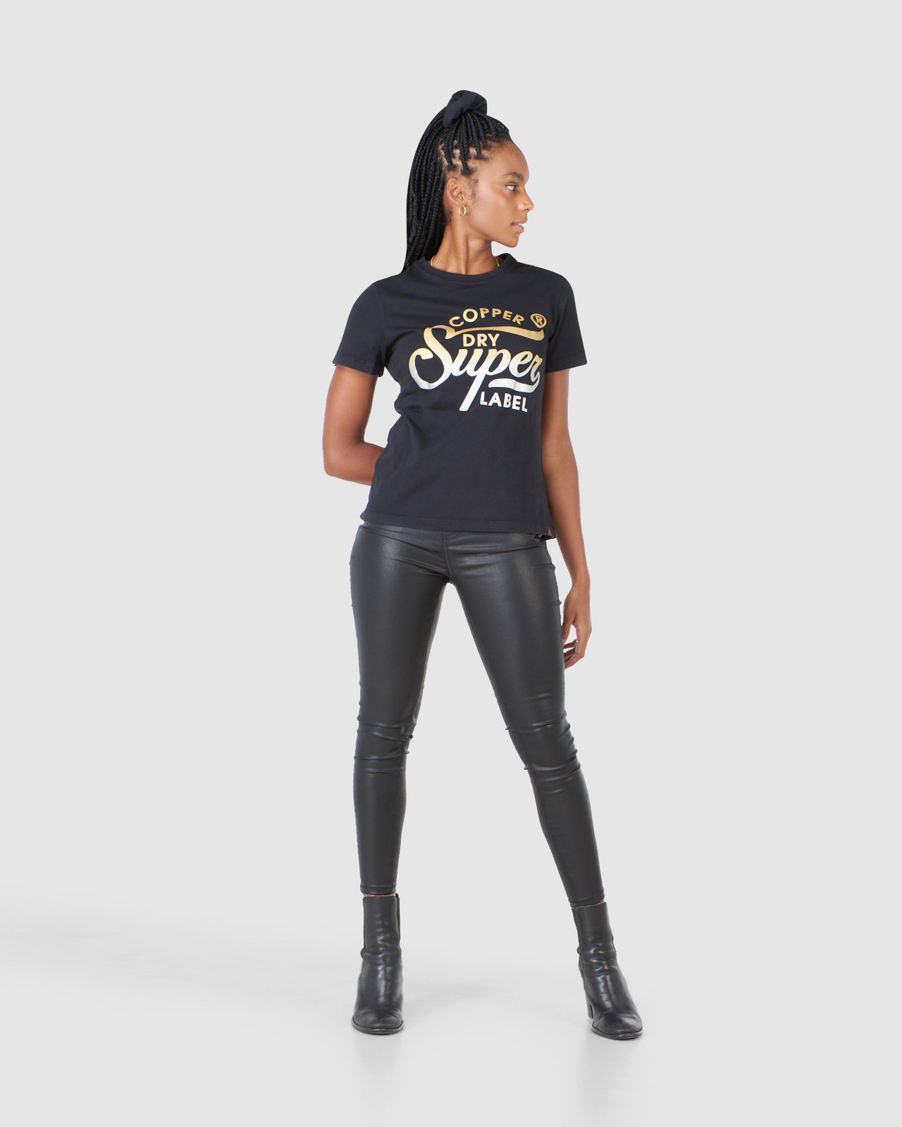 Superdry Womens COPPER LABEL TEE Black Printed T Shirts 1