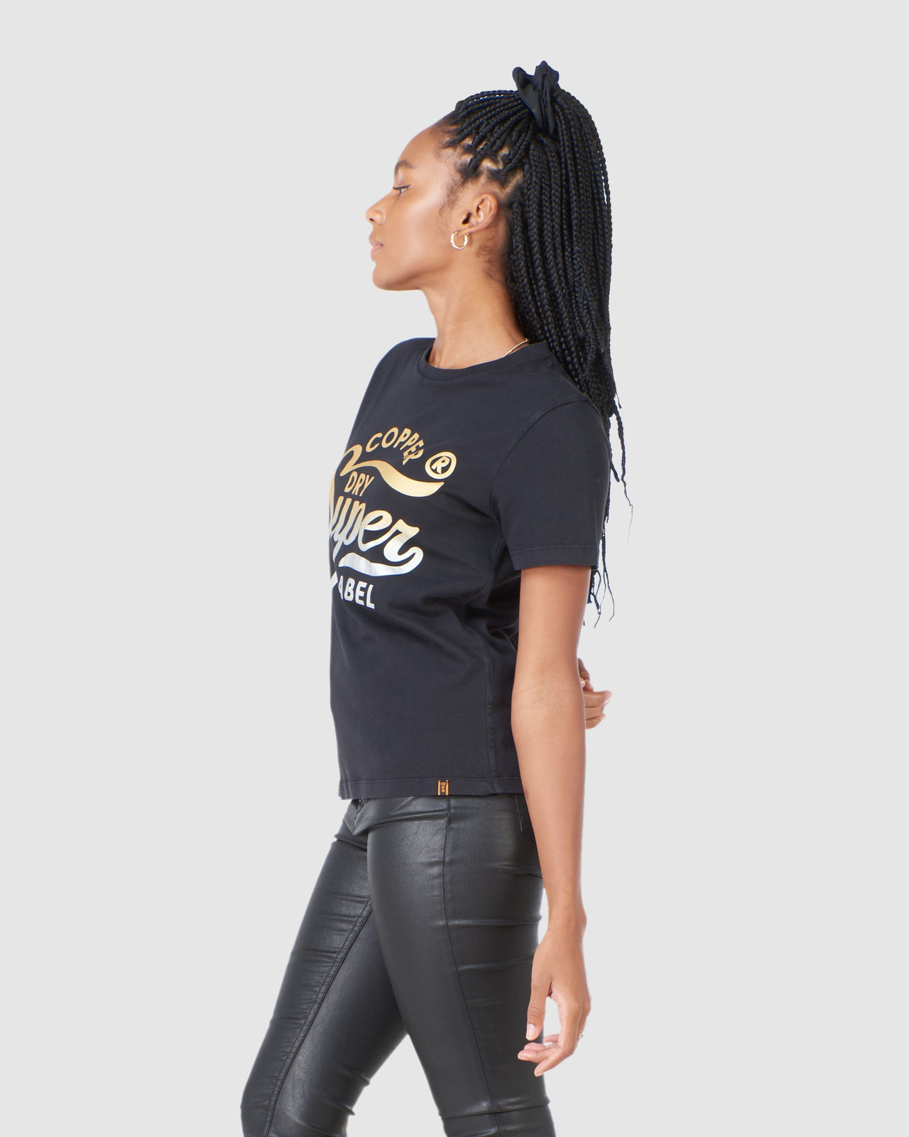 Superdry Womens COPPER LABEL TEE Black Printed T Shirts 2