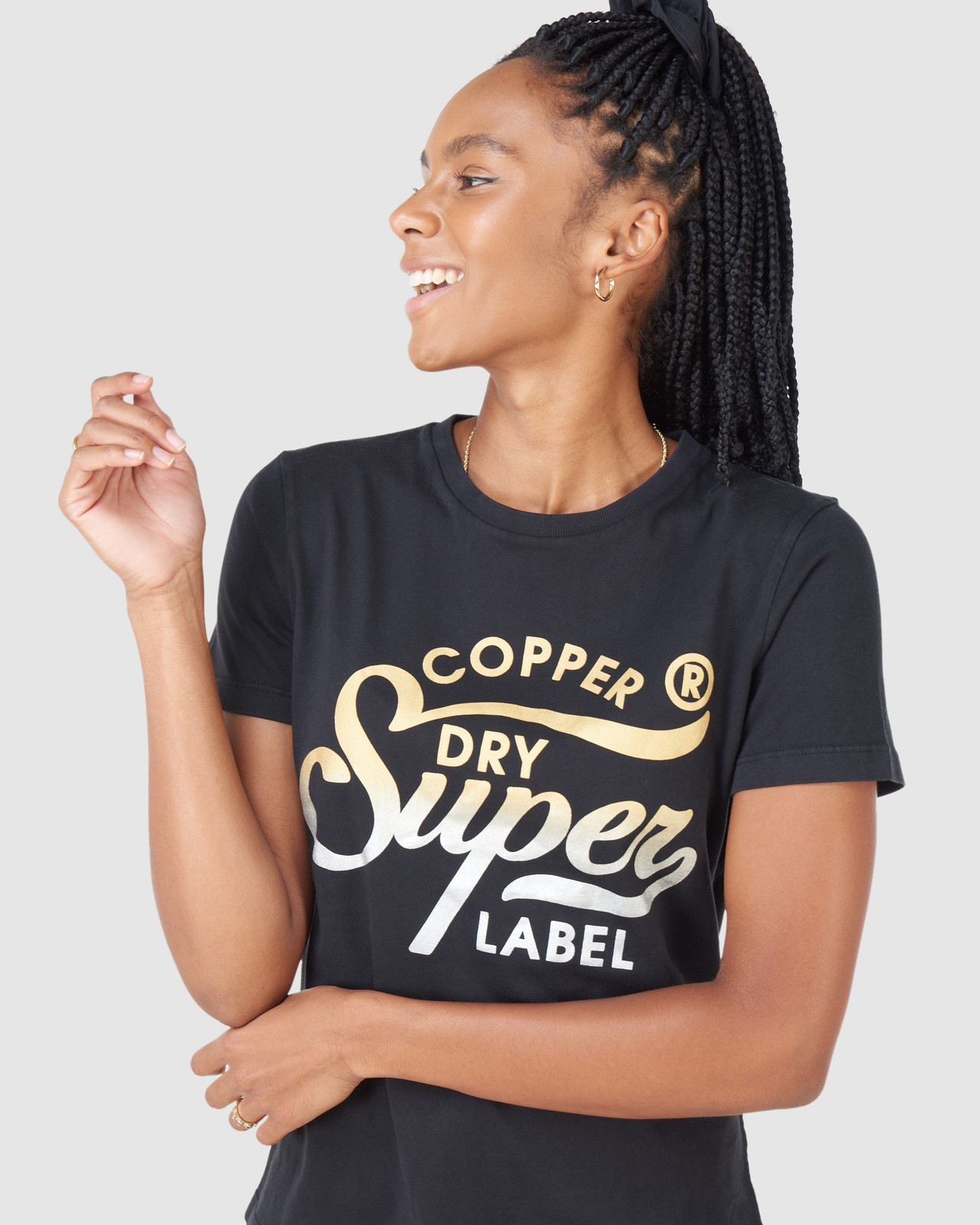 Superdry Womens COPPER LABEL TEE Black Printed T Shirts 4