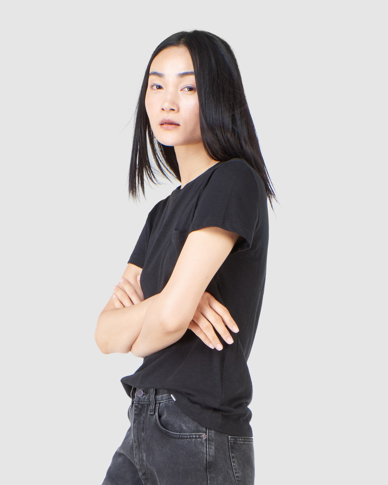 Superdry Womens SCRIPTED CREW TEE Black Plain T Shirts 4