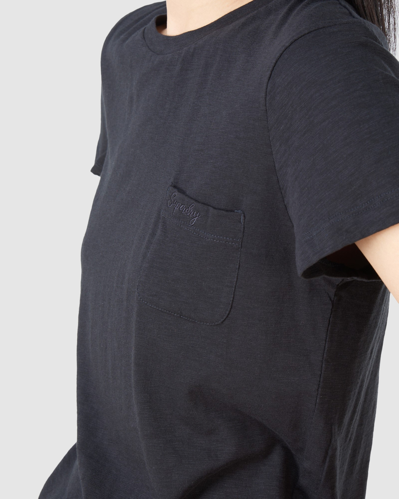 Superdry Womens SCRIPTED CREW TEE Black Plain T Shirts 5