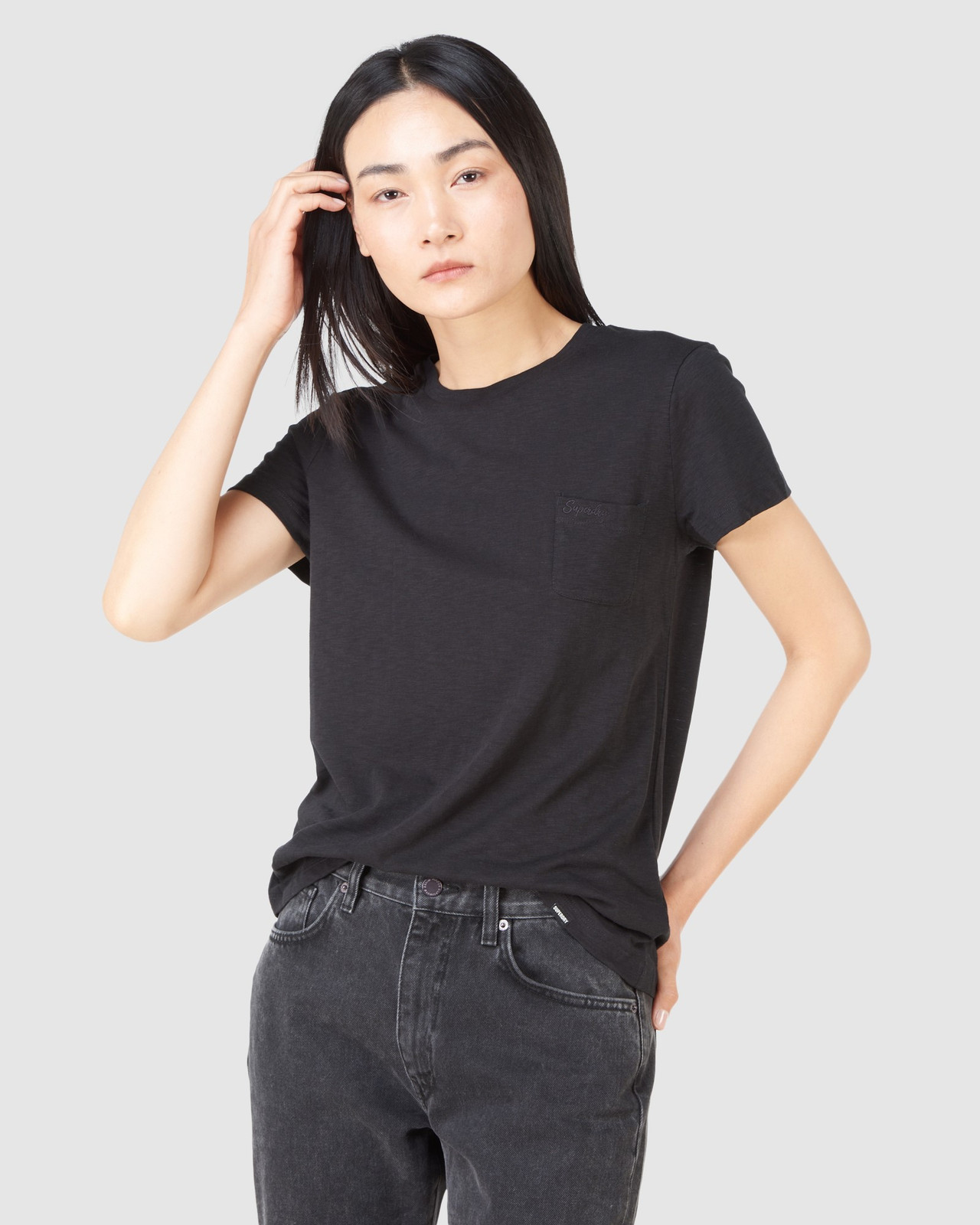 Superdry Womens SCRIPTED CREW TEE Black Plain T Shirts 0