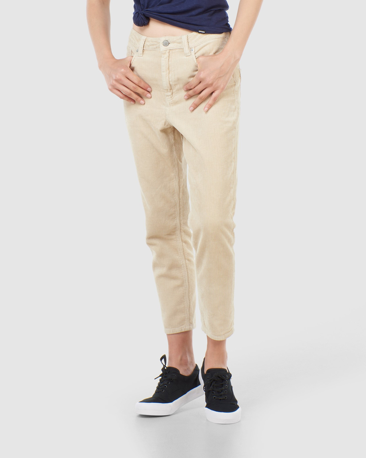 Superdry Womens HIGH SLIM TAPER CORD Neutrals Casual Pants 0