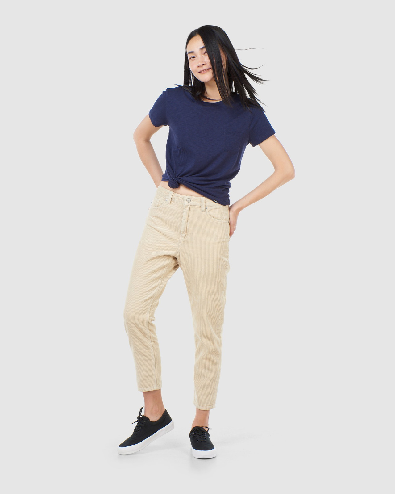 Superdry Womens HIGH SLIM TAPER CORD Neutrals Casual Pants 1