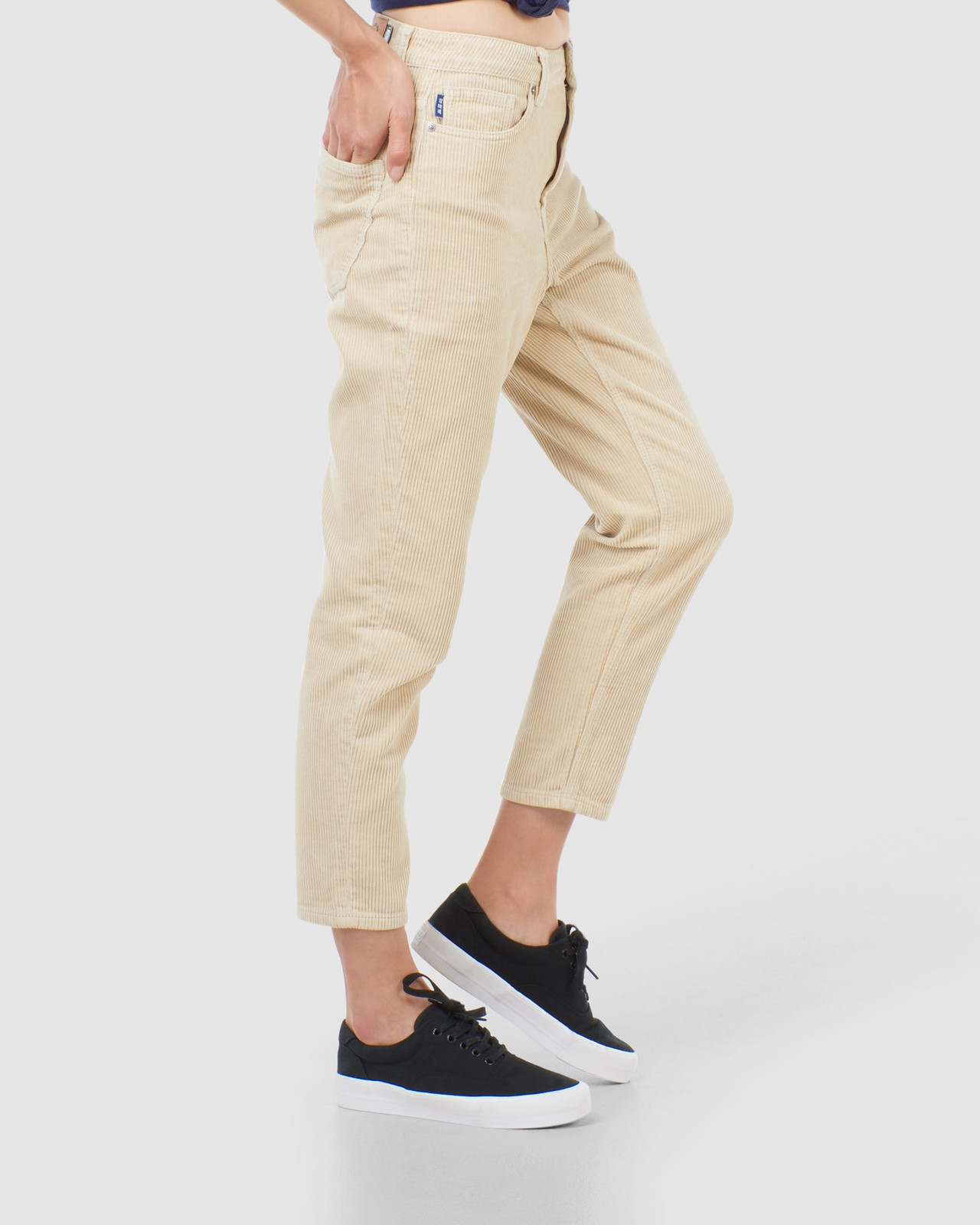 Superdry Womens HIGH SLIM TAPER CORD Neutrals Casual Pants 2