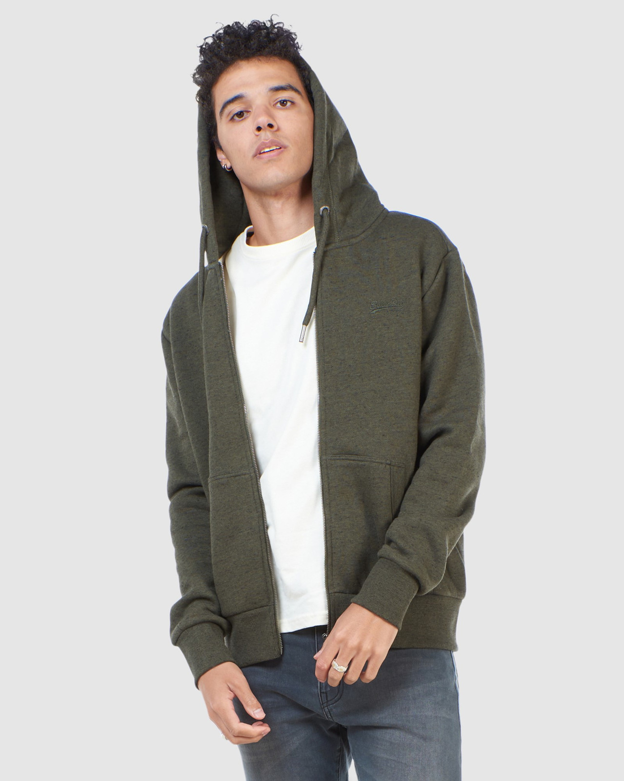 Superdry Mens Orange Label Classic Zip Hood Green Zip Hoodies 0