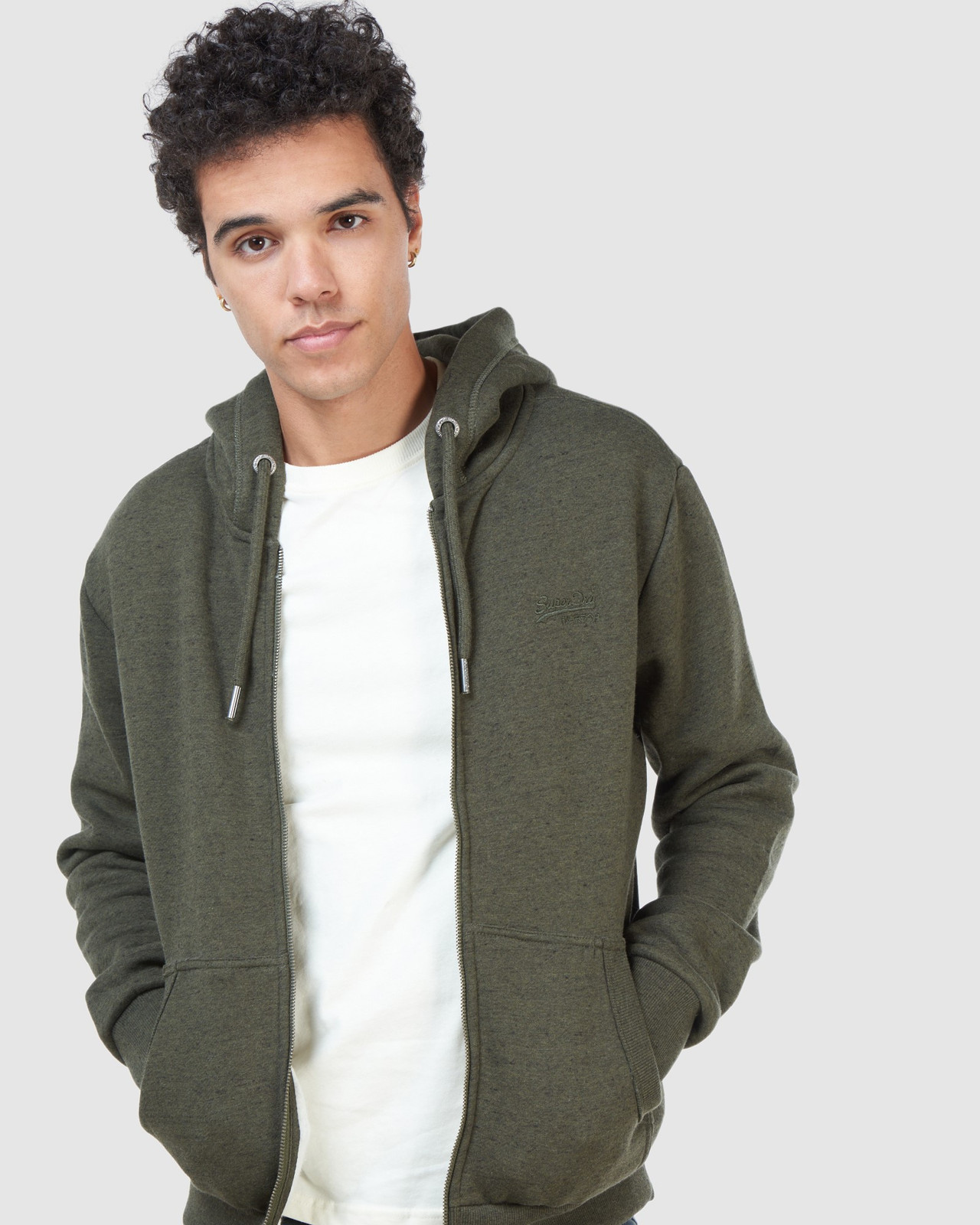 Superdry Mens Orange Label Classic Zip Hood Green Zip Hoodies 4