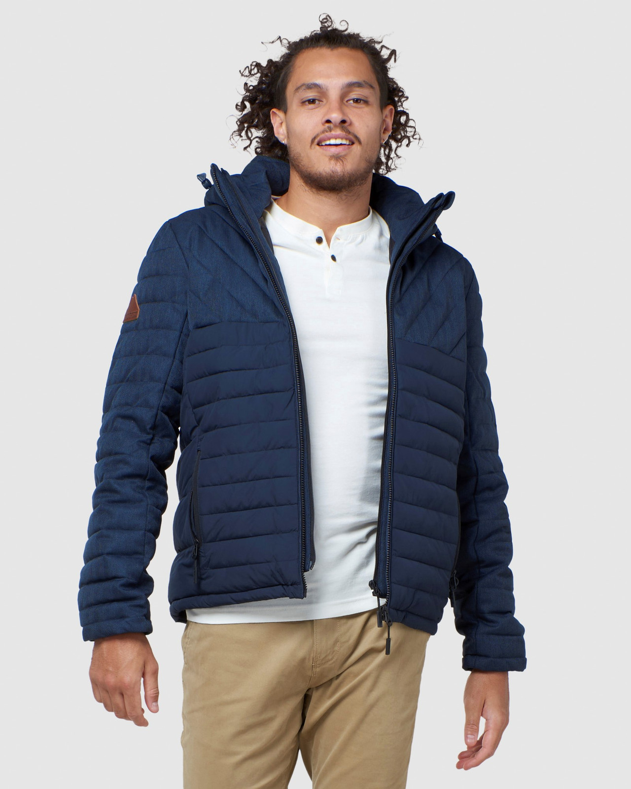 Superdry Mens TWEED MIX FUJI Navy Puffer Jackets 0