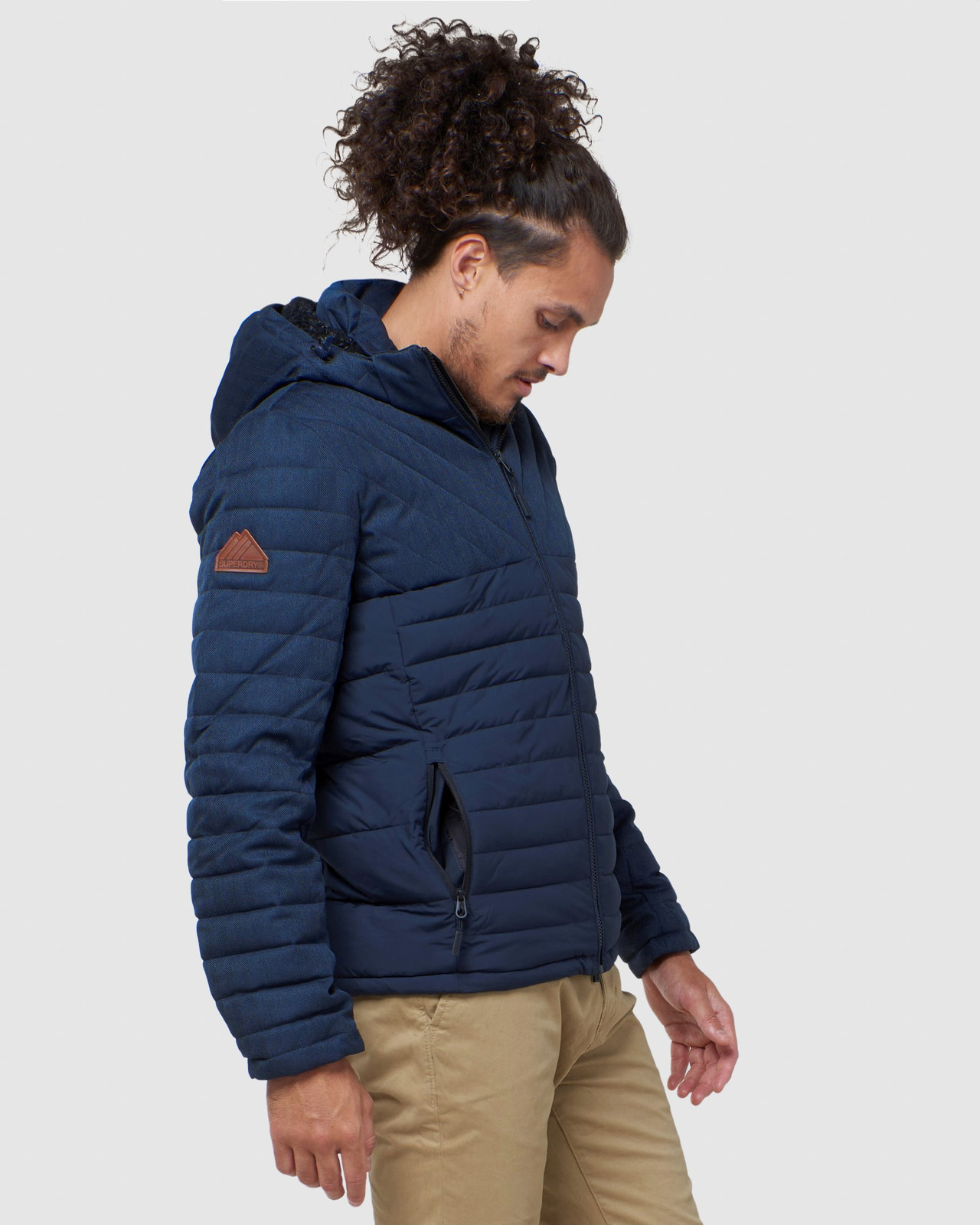 Superdry Mens TWEED MIX FUJI Navy Puffer Jackets 2