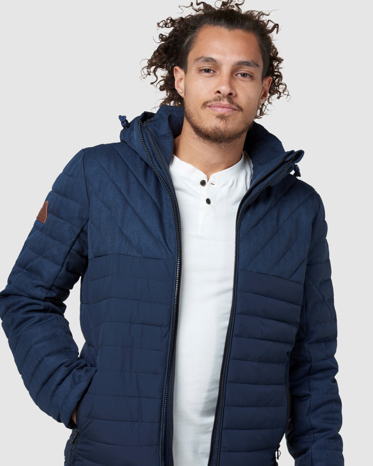 Superdry Mens TWEED MIX FUJI Navy Puffer Jackets 4