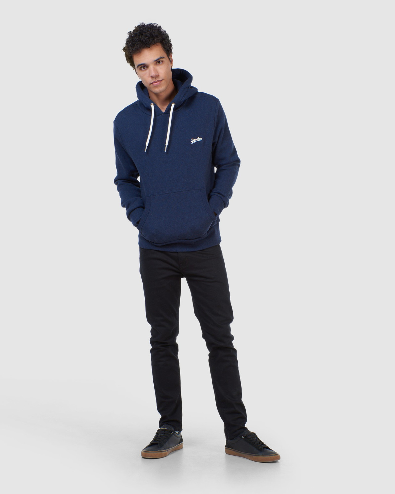 Superdry Mens Orange Label Classic Hood Blue Overhead Hoodie 1