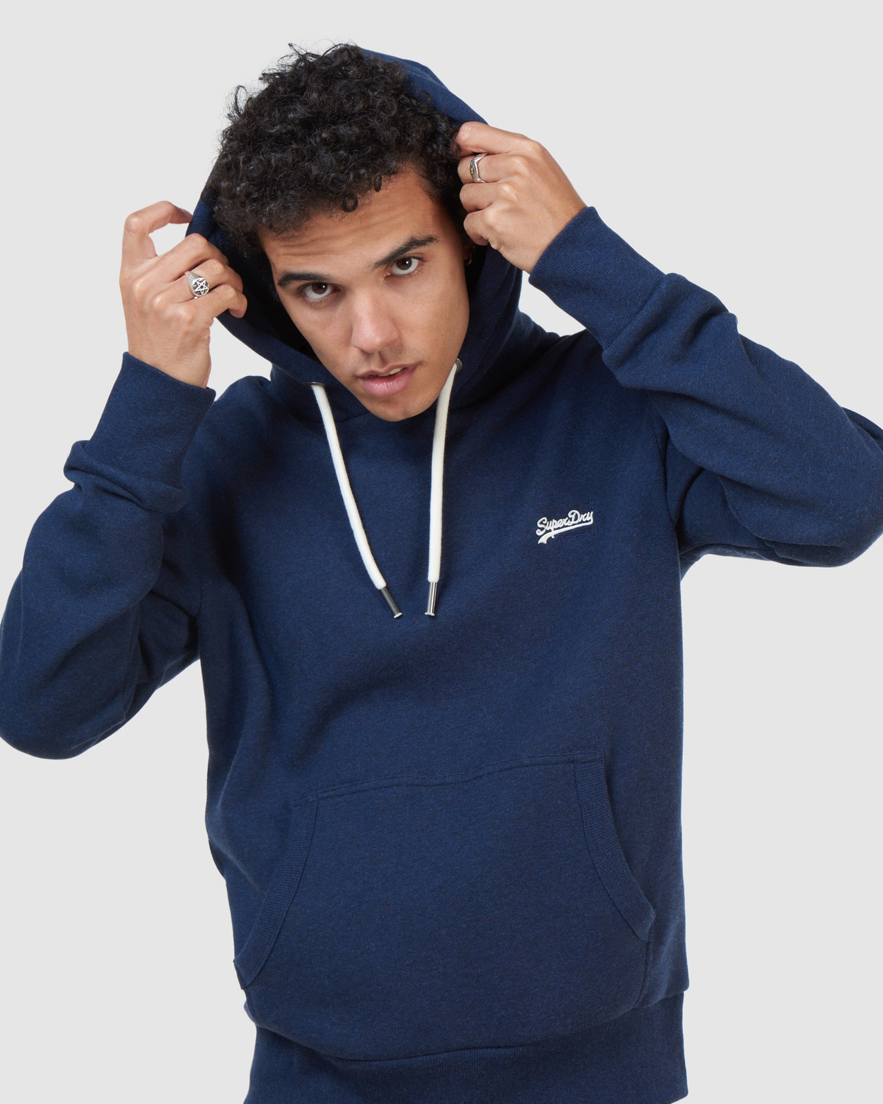 Superdry Mens Orange Label Classic Hood Blue Overhead Hoodie 4