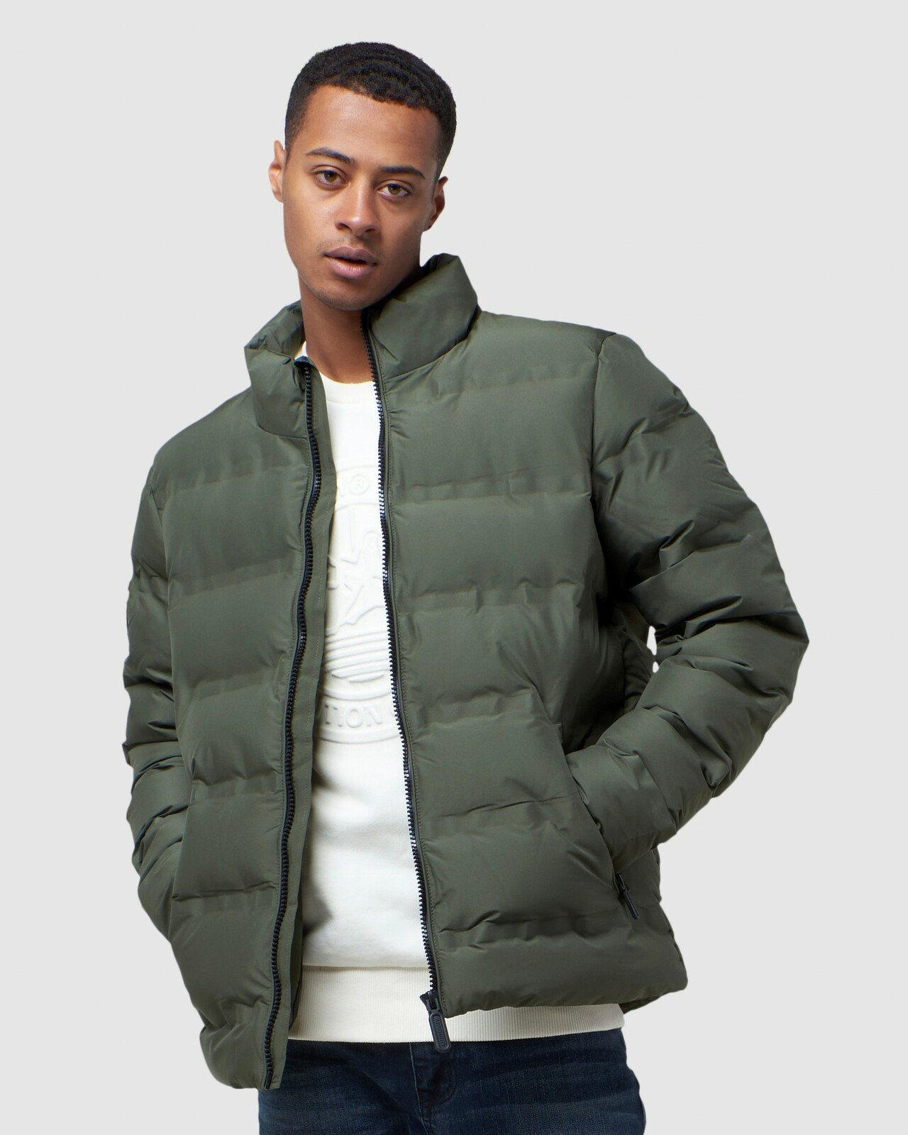Superdry Mens ULTIMATE RADAR QUILT JACKET Green Puffer Jackets 0