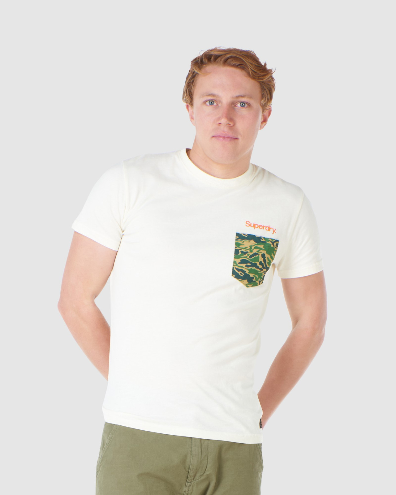Superdry Mens CL CANVAS TEE Neutrals Printed T Shirts 0