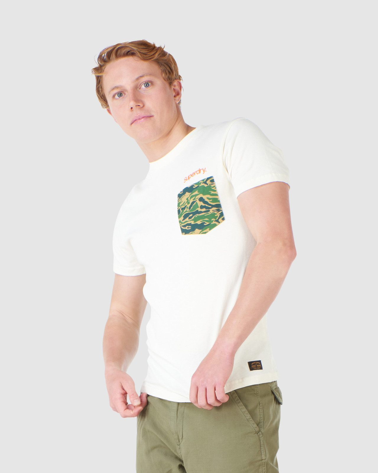 Superdry Mens CL CANVAS TEE Neutrals Printed T Shirts 2